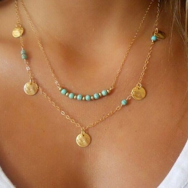 Double Turquoise Chain Brass  Long Necklace