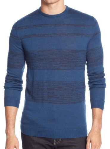 Calvin Klein Deep Royal Blue Striped Mens Size 2XL Crewneck Sweater