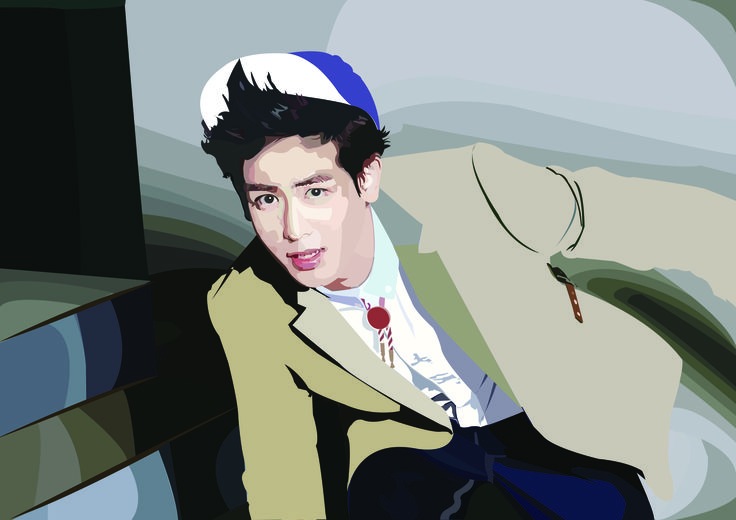 Nichkhun from 2PM 1st digital painting with pen tool (photoshop)