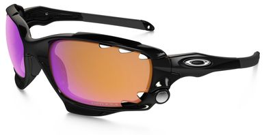 Oakley Racing Jacket Sunglasses with Polished Black Frame and Prizm Trail and Clear Vented Lens