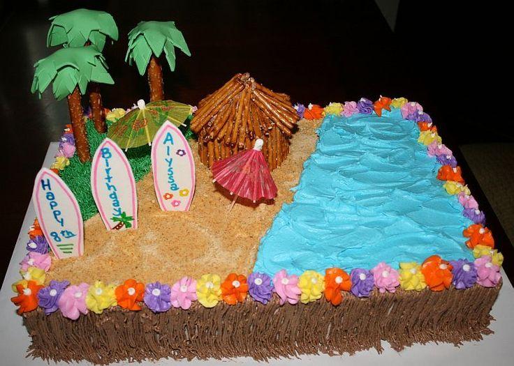 tiki themed sheet cake   Luau beach cake