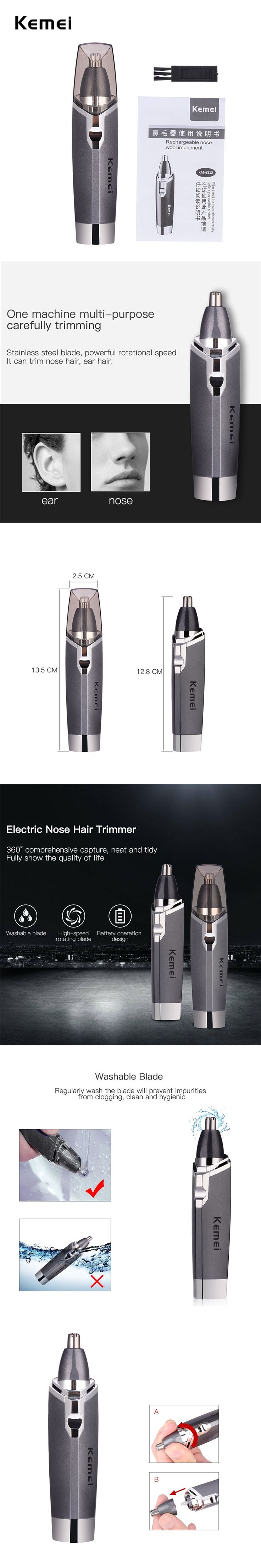 Portable Electric Nose Hair Trimmer Nose Hair Cut For Men High Speed Rotary Blade Trimmer Clipper Battery Operate KM-6512 G00