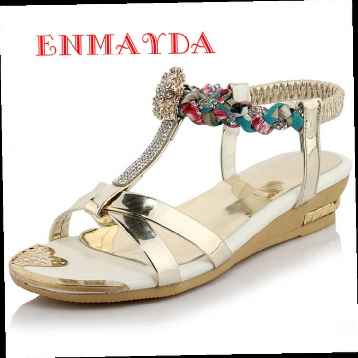 53.23$  Watch now - http://aliw8e.worldwells.pw/go.php?t=32656557410 - ENMAYDA Summer Elastic Band Wedges Sandals Shoes Woman Rhinestone T-Strap Med Heels Purple Gold Silver Sandals Women Size 34-44