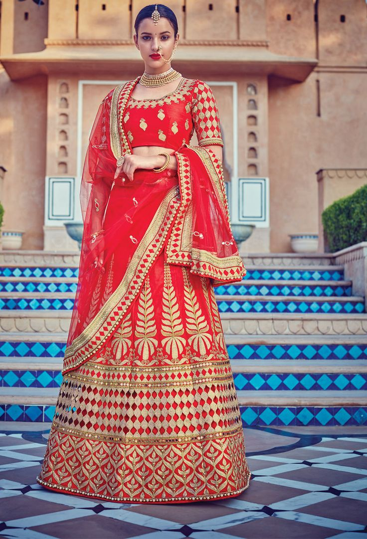 Semi Stitched Red Art #Silk #Circular #Lehenga #Choli #nikvik  #usa #designer #australia #canada #freeshipping #wedding