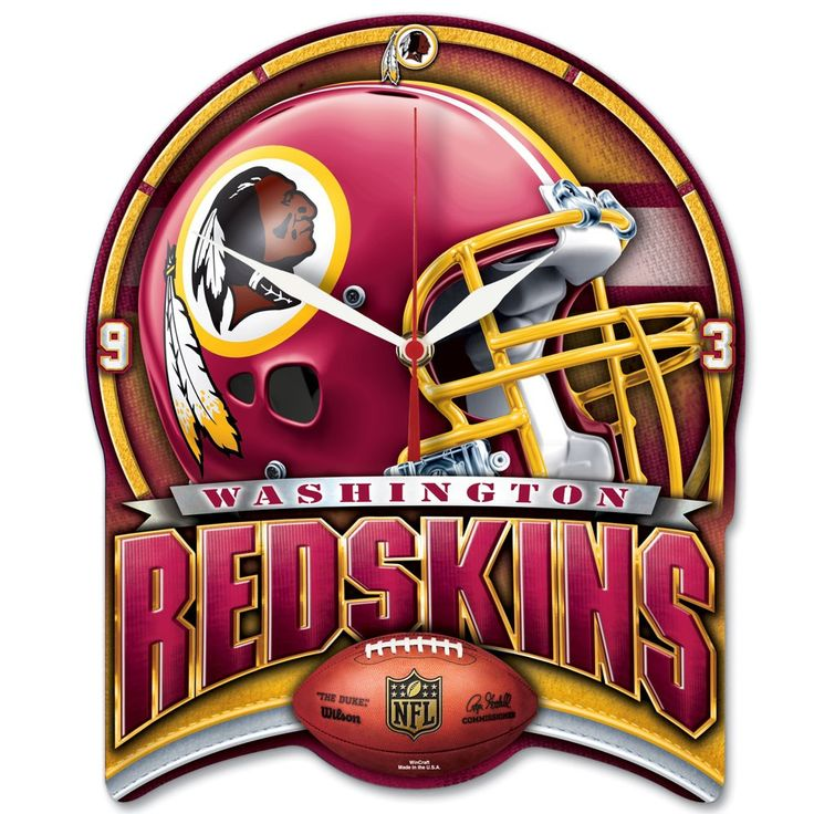 Redskins NFL Plaque HD Clock 13""
