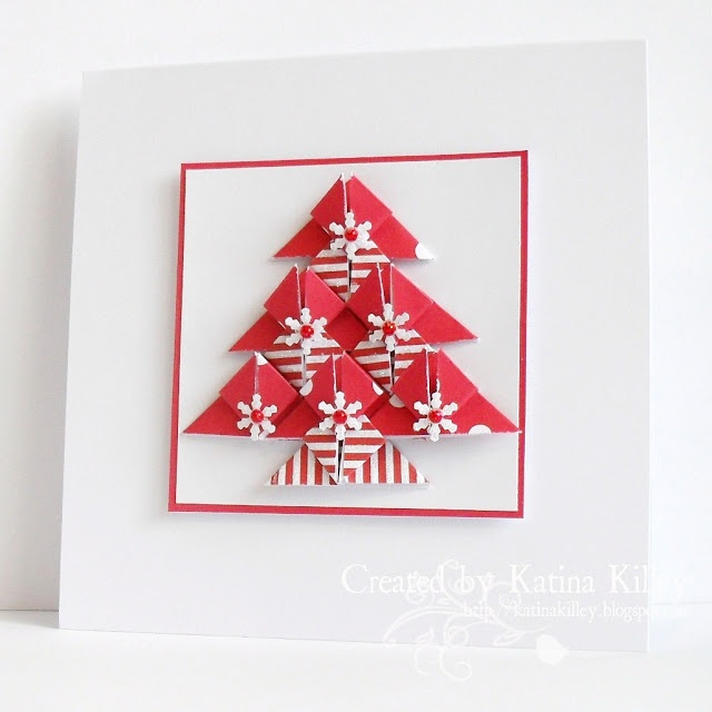 handmade Christmas card ... red & white ... tree created of ten pieces done in tea bag folds ...: Cards Christmas, Bag Cards, Cardmaking Ideas, White Trees, Card Ideas, Christmas Trees, Craft Ideas, Handmade Christmas Cards