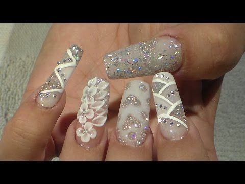 Kerry Benson - Wedding Flowers - Acrylic Nail Art Tutorial - YouTube
