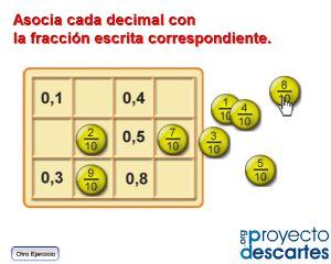 PROYECTO CANALS. Decimales y fracciones. Sirven para trabajar en clase la relación a tres bandas entre la representación gráfica y simbólica de las fracciones, usando números fraccionarios y decimales.