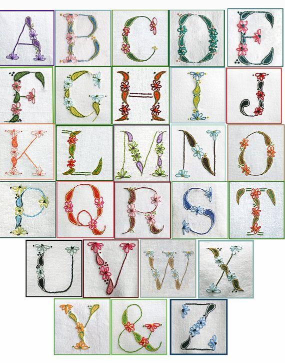 DIY pdf Crewel Embroidery Pattern Monogram Alphabet Sampler instant download  ring bearer pillow christening gown