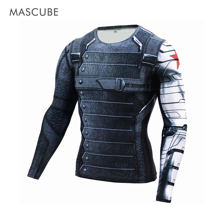 summer outfits men MASCUBE 2017 Compression Shirt Winter Soldier 3D Print Superhero Long Sleeve T Shirt Fitness Crossfit Men Casual Bodybuilding ** Details on product can be viewed on AliExpress website by clicking the VISIT button