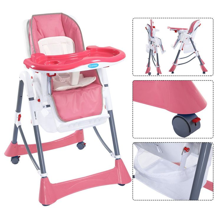 Portable Baby High Chair Infant Toddler Feeding Booster Folding Highchair 3 color