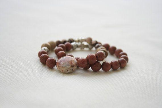 Natural Gemstone Bracelet Set  Sandstone Jasper by KirkeCraft
