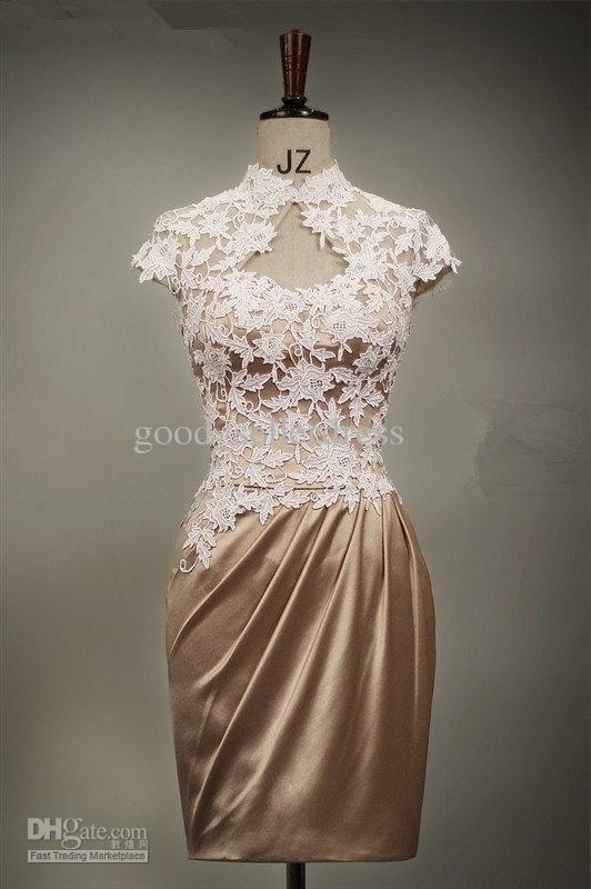 Wholesale Fashion Lace Corset Wedding Dresses Charms Chocolate Short New Sexy Wedding Dresses Column Sheath, Free shipping, $56.0-67.2/Piece | DHgate