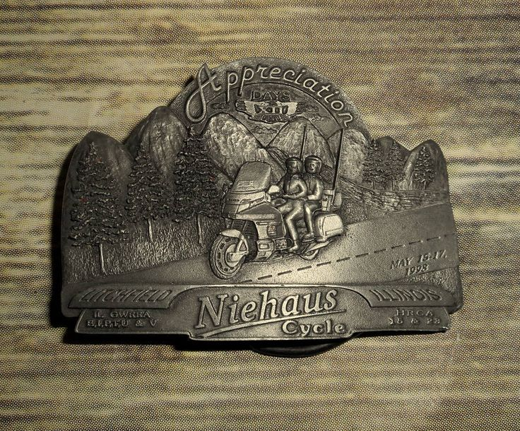 Niehaus Cycles Belt Buckle Appreciation Days Motorcycle Rally 1998 Illinois  #Unbranded