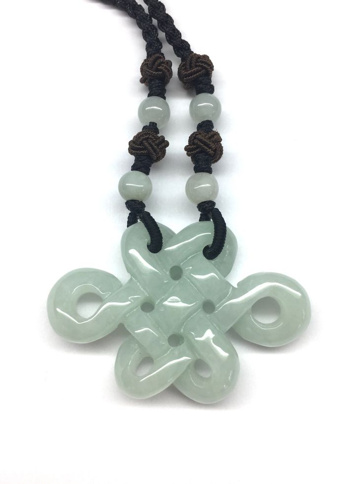 Carved Light Green Jade Chinese Endless Knot Pendant (盤祥結) with Light Green Jade Beads Adjustable Black Cord Necklace by RitaCollection on Etsy