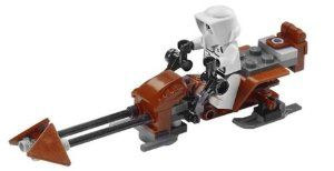 LEGO Scout Trooper with Speeder Bike (Loose) Star Wars Minifigure by LEGO. $9.94. Comes from the new Endor Base lego set #8038. Comes with the Scout Trooper minifigure. Comes with the full assembly of the speeder bike. Originally comes from Lego #8038 Endor Base set, this is a fully assembly of the speeder bike and the scout trooper mini-figure. The instruction is available online so you will be able to build the speeder bike easily your own.