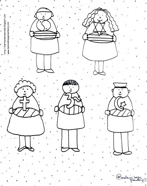 free multicultural children coloring page - Children Coloring