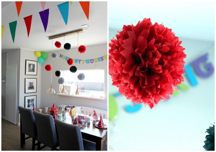 Zelfgemaakte pompoms van (action) servetten. Makkelijk te maken. Leuke decoratie voor verjaardag / geboorte / feest.