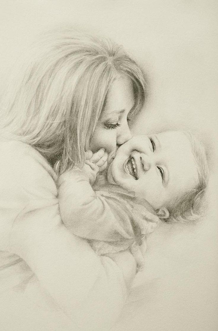 Картинка мать и ребенок рисованная