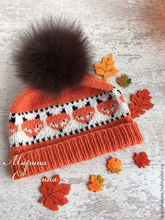 """Kids' Cap / Шапочка """"ЛИСИЧКИ"""" - оранжевый, рисунок, шапка, шапка вязаная, шапка детская, шапка с помпоном"""