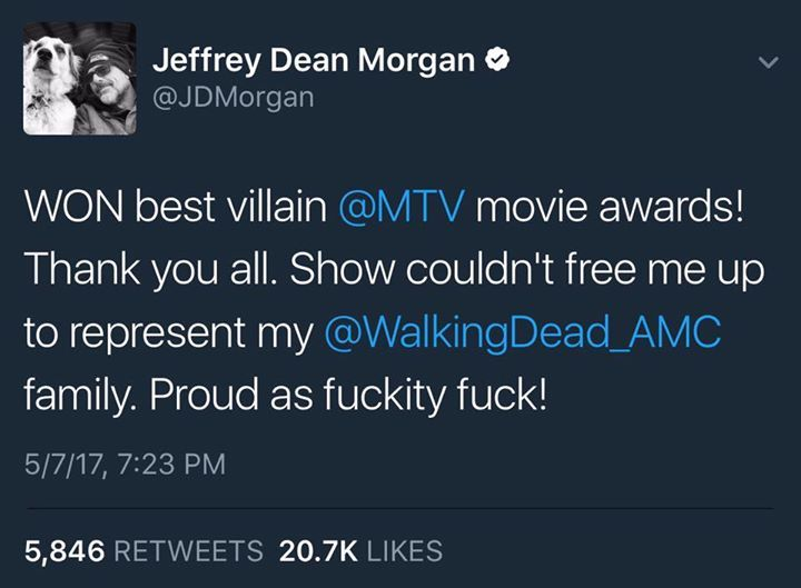 Jeffrey Dean Morgan wins Best Villain as Negan at the 2017 MTV Awards. Congratulations!   #thewalkingdead #twd #thewalkingdeadseason7 #twdfamily #twdfinale #amc #walkingdead #rickgrimes #andrewlincoln #norman #normanreedus #daryl #dixon #michonne #chandler #chandlerriggs #carl #carlgrimes #carol #negan #lucille #maggie #glenn #love