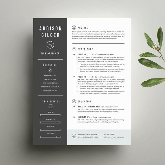 Resume Template and Cover Letter Template for Word | Digital Instant Download | DIY Printable 3 Pack | The Addison | Modern Two Page Design