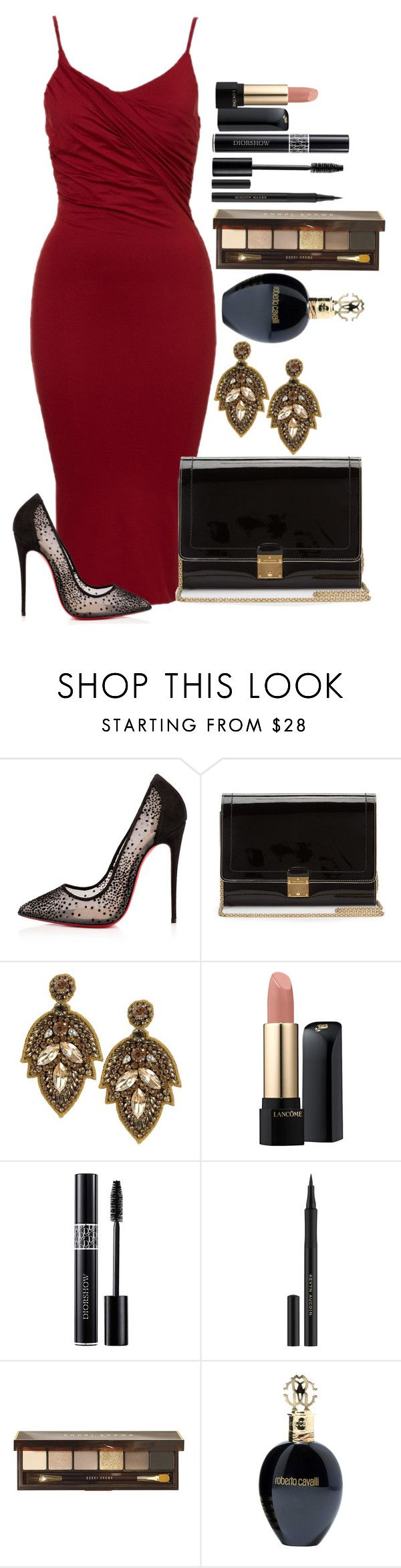 """Untitled #1145"" by fabianarveloc on Polyvore featuring Christian Louboutin, Marc Jacobs, Deepa Gurnani, Lancôme, Christian Dior, Kevyn Aucoin, Bobbi Brown Cosmetics, Roberto Cavalli, women's clothing and women"