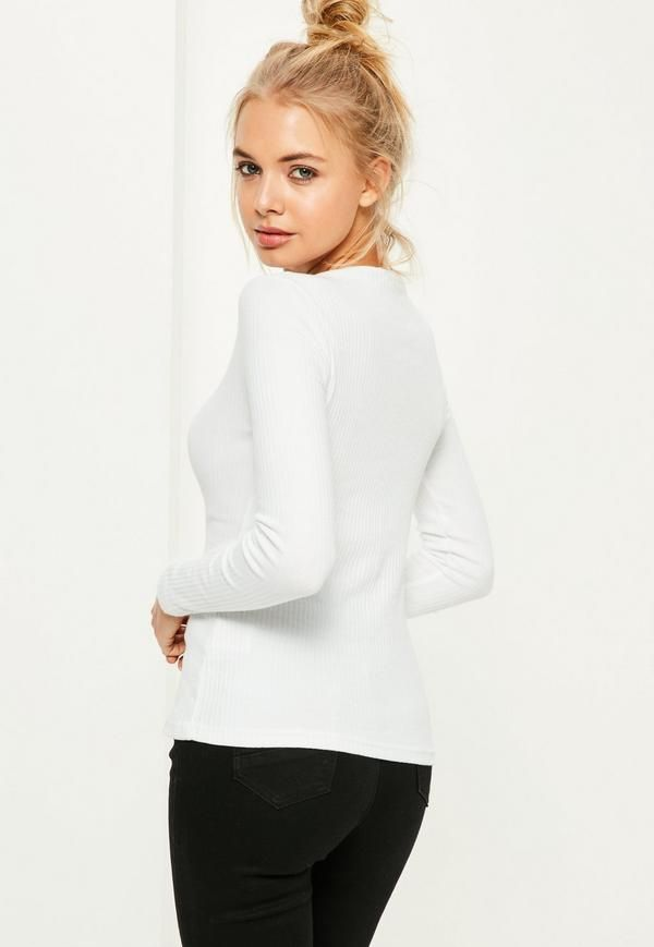 Crew Neck Ribbed Top White - Free Delivery | Missguided
