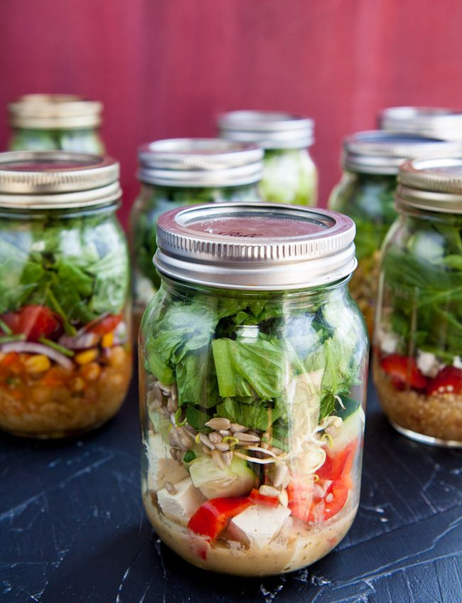 Prepare salads in a mason jar for when you're on the go!