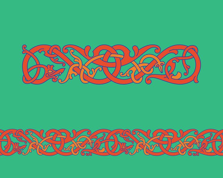 Intertwining Animals in Ringerike Style – Ringerike style chain pattern of intertwining animals inspired by the ornament seen on the weather vane from Källunge, Gotland.