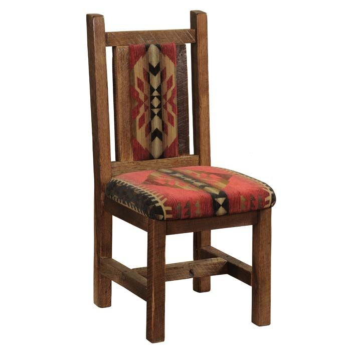Barnwood Upholstered Side Chair - Set of 2 Western Dining Chairs - The perfect chair for our barnwood dining tables upholstered in vivid Southwestern fabric. Individually hand crafted using reclaimed Red Oak from 1800s tobacco barns gives the furniture unique character. Seat is contoured antique oak. A dull catalyzed lacquer finish is extra durable and retains the natural look of the wood. Made in the USA and ships in 4-6 weeks.
