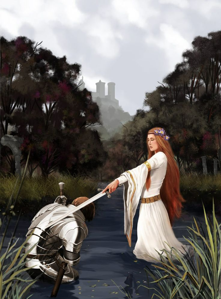 The Lady of the Lake  Arthur | After enchanting Merlin, Nimue replaces him as Arthur's adviser. She becomes the lover and eventual wife of Sir Pelleas and mother to his son Guivret. After the Battle of Camlann, she reclaims Excalibur when it is thrown into the lake by Sir Bedivere.