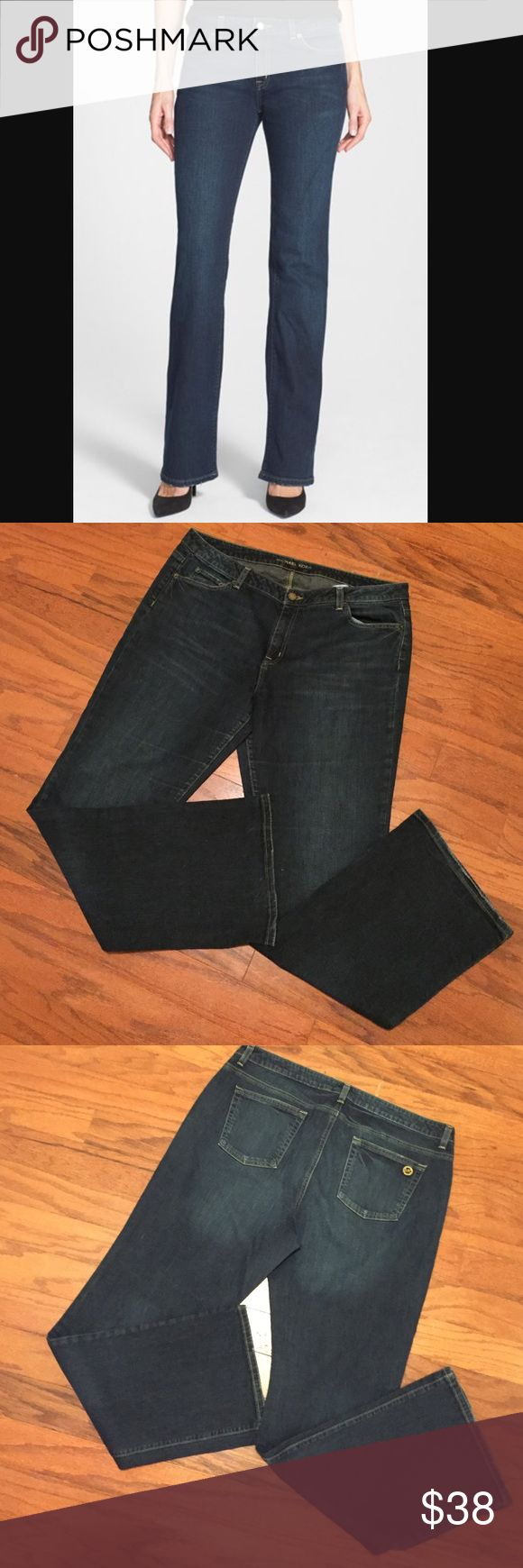 Michael Kors Curvy Bootcut Jeans Excellent quality and condition. Deep indigo wash. Michael Kors insignia on back pocket. Very flattering! Very little wear. Michael Kors Jeans Boot Cut