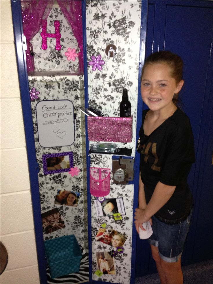 Hannah's locker decorated for her first day of middle school,