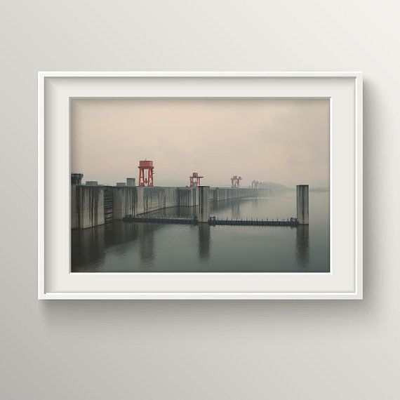 Foggy 3 Gorges Dam Photography for home by BekareCreative on Etsy