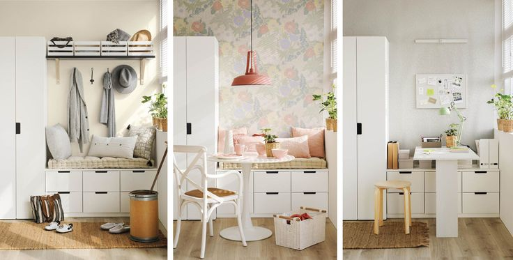 Como convertir un armario y una cómoda en un recibidor, un office y un estudio