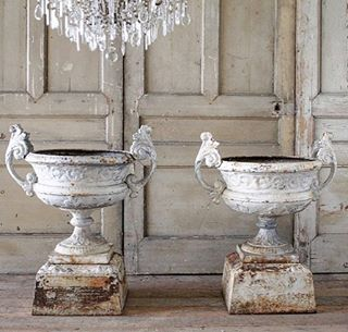 """Full Bloom Cottage (@fullbloomcottage) on Instagram: """"Beautiful pair of early 19th C urns coming soon to the web.... fullbloomcottage.com #antiqueurns"""""""