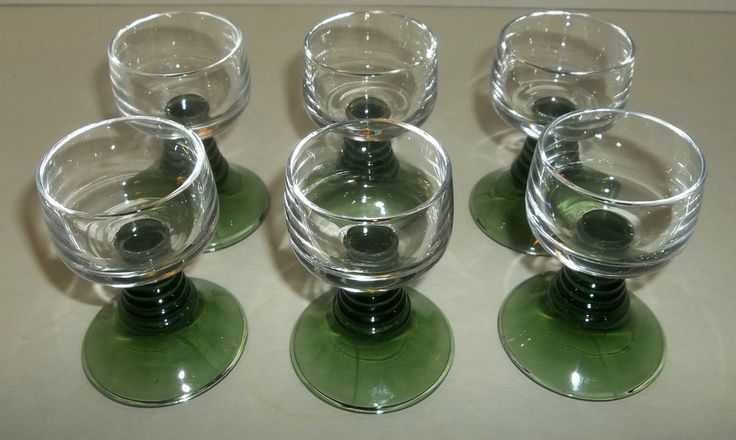 1972  Ruwer Green Stemmed Liquor Glasses Set Of Six Mid-Century Germany