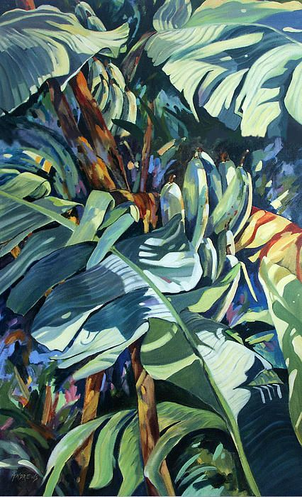 A close focus of banana leaves done in acrylic on canvas.