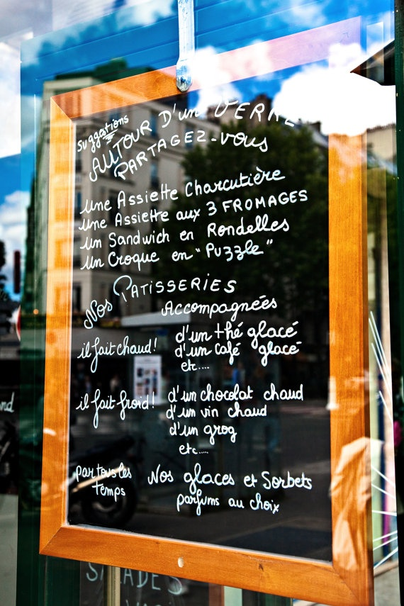 French cafe menu board