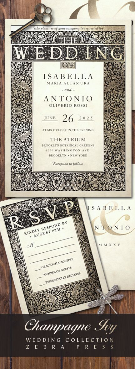 zazzle wedding invitations promo code%0A Wedding Invitations  u     RSVP Card  Champagne Ivy Wedding Collection  Garden  floral style from Zebra