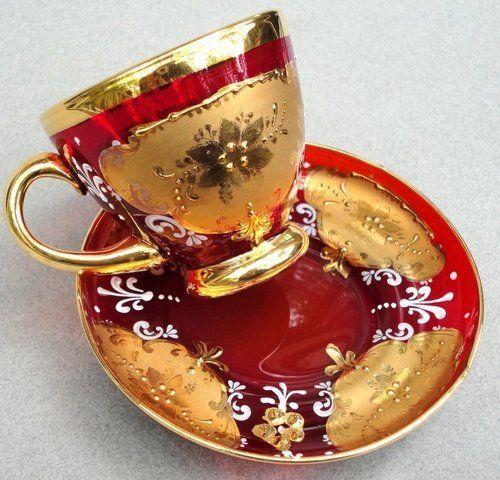 Moser Tea Cup Saucer Bohemian Czech Ruby Red Glass Gold Enamel Gilt Decor Vtg by Eva