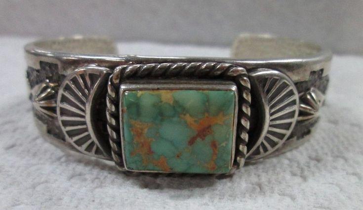 OLD PAWN Native American Sterling Silver Handmade Turquoise Cuff Bracelet #Handmade #SterlingSilverJewellery