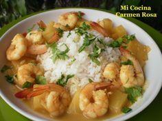 Mi Cocina: LANGOSTINOS CON PIÑA AL CURRY ROJO CON LECHE DE CO...