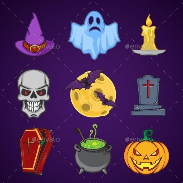 Halloween Cartoon Icon Objects