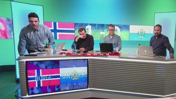 Norwegian soccer studio crew reacts hilariously to their national team giving up a goal against San Marino... https://twitter.com/aHellofaBeating/status/785934571686813696?ref_src=twsrc%5Etfw Love #sport follow #sports on @cutephonecases