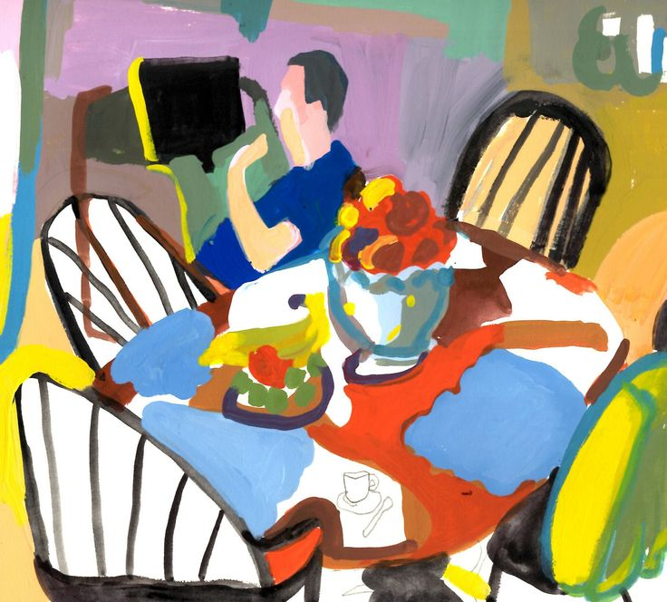 AnnaMaria Potamiti- Fruit on the table- original gouache painting