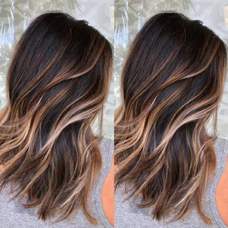 Caramel Ribbons Brunette Balayage With A Pearl Money