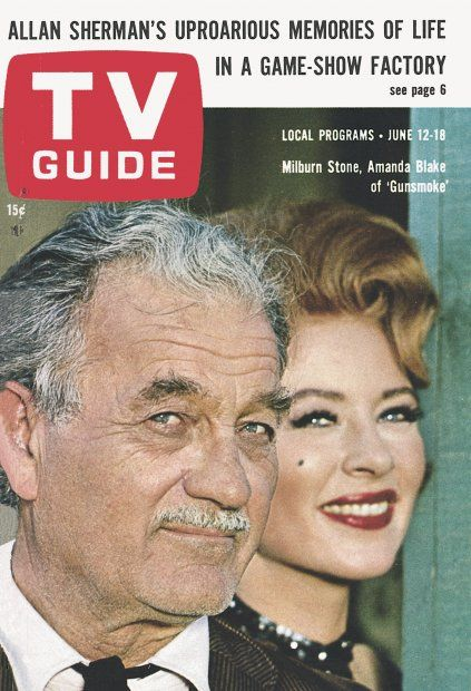"TV Guide: June 12, 1965 - Milburn Stone and Amanda Blake of ""Gunsmoke"""