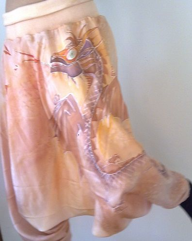 low-cut women´s  harem pants with a dragon (silk, hand painted,  2016)